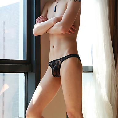 Homens Super Sexy G-string Underwear - Renda Com Transparência, Sólido Cintura Baixa
