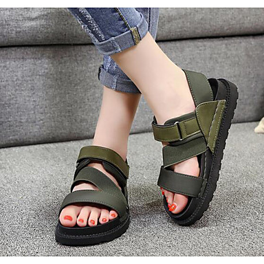 Naiset Kengät Nupukkinahka Kevät Comfort Sandaalit Käyttötarkoitus Kausaliteetti Musta Armeijan vihreä Khaki