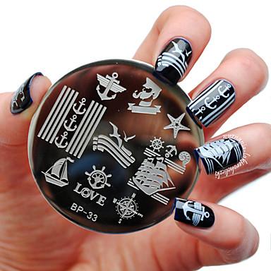 born pretty sailors sea sailing theme nail art stamp template image plate bp33 nail stamping plates set