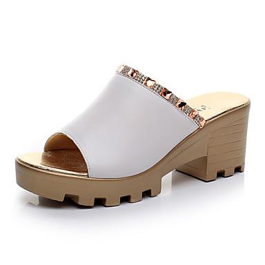 Mulheres Sapatos Couro Verão Conforto Sandálias Salto Plataforma Peep Toe Preto / Vermelho / Verde