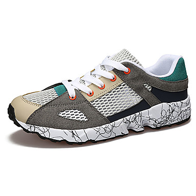 Homens sapatos Tule Verão Conforto Tênis Corrida Preto / Vermelho / Verde