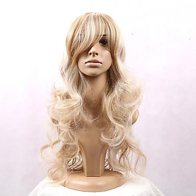 Synthetische Haare Perücken Wellen Kappenlos Cosplay Perücke Lang Blond