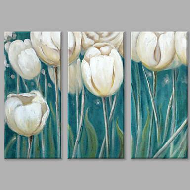 Maalattu Abstrakti Pystysuora panoraama, Kukka Abstrakti Kangas Hang-Painted öljymaalaus Kodinsisustus 3 paneeli