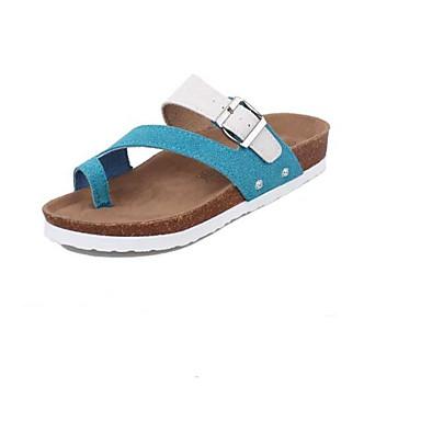Naiset Kengät PU Kevät Comfort Sandaalit Käyttötarkoitus Kausaliteetti Punainen Sininen