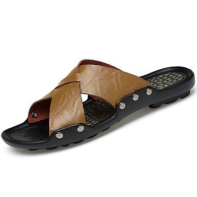 Herrn Schuhe Leder Sommer Slippers & Flip-Flops Walking Niete für Weiß Schwarz Gelb Khaki
