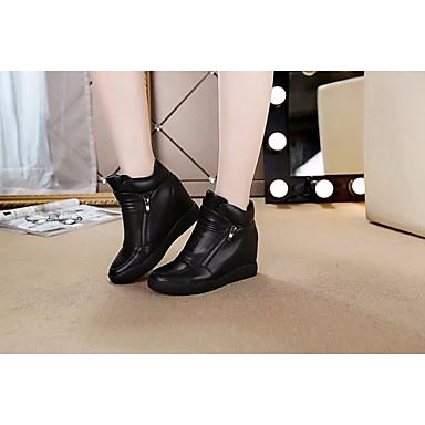 Naiset Bootsit Nahka PU Kevät Valkoinen Musta Tasapohja