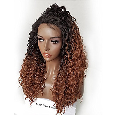 Human Hair Glueless Lace Front Lace Front Wig Brazilian Hair Kinky Curly Ombre Wig 180% Density with Baby Hair Ombre Hair Natural Hairline African American Wig 100% Hand Tied Ombre Women's Short