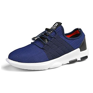 Herren Sneaker Komfort Tüll PU Frühling Herbst Lässig Schnürsenkel Flacher Absatz Schwarz Grau Blau Flach