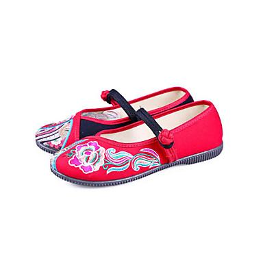 Dámské Boty Látka Jaro Podzim Pohodlné vyšívané boty Bez podpatku Rovná podrážka Oblá špička Přezky Květiny pro Ležérní Šaty Červená