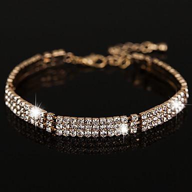Damen Ketten- & Glieder-Armbänder Kubikzirkonia Modisch Vintage Krystall Strass Kreisform Schmuck Für Hochzeit Party 1 Set