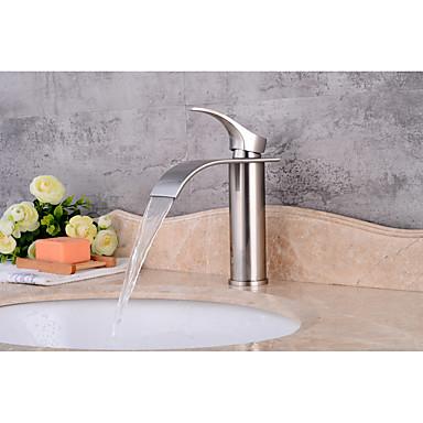Moderne Mittellage Wasserfall Keramisches Ventil Einhand Ein Loch Gebürsteter Nickel , Waschbecken Wasserhahn