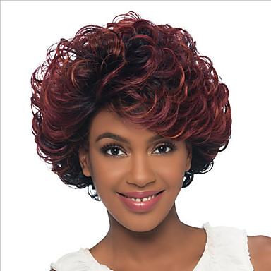 Damen Synthetische Perücken Kappenlos Kurz Wellig Black / Dark Wine Gefärbte Haarspitzen (Ombré Hair) Seitenteil Dunkler Haaransatz