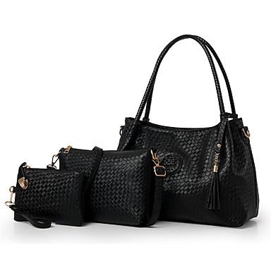 Damen Taschen Andere Lederart Bag Set 3 Stück Geldbörse Set Rüschen für Normal Ganzjährig Blau Gold Schwarz Beige