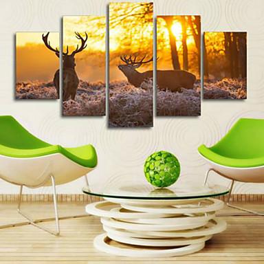 Reprodukce umění Zvíře Moderní,Pět panelů Horizontální Grafika Wall Decor For Home dekorace