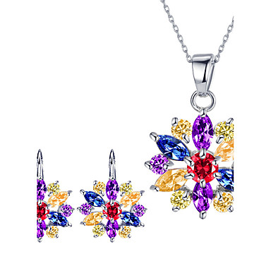 Damen Kubikzirkonia Kubikzirkonia Schmuck-Set 1 Halskette 1 Paar Ohrringe - Klassisch Euramerican Modisch Blume Gold Weiß Silber