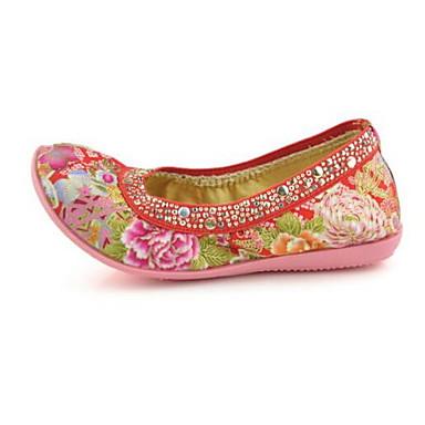 Mulheres Sapatos Tecido Primavera Verão Conforto Rasos Sem Salto Ponta Redonda Miçangas para Bege Vermelho