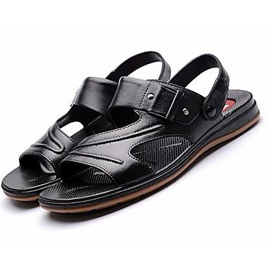 Miehet Sandaalit PU Kevät Musta Tasapohja