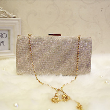 Women's Bags Faux Leather Evening Bag Solid Colored Gold / Black / Silver