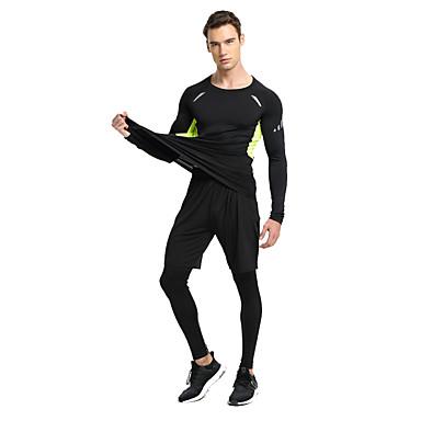 Homens Conjunto Camiseta e Calça de Corrida Secagem Rápida para Ioga Exercício e Atividade Física Corrida Elastano Terylene Verde e Preto