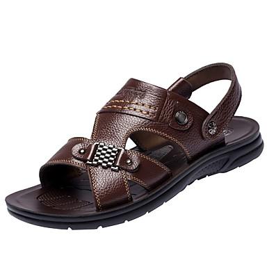 Pánské Boty PU Jaro Pohodlné Sandály Pro Ležérní Černá Hnědá Khaki