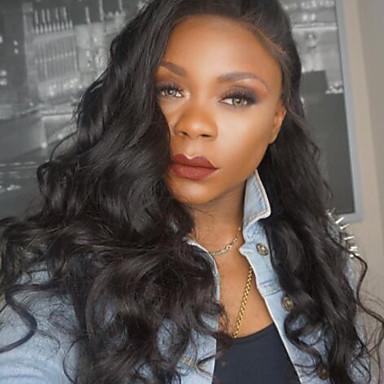 Echthaar Spitzenfront Perücke Lose gewellt 180% Dichte 100 % von Hand geknüpft Afro-amerikanische Perücke Natürlicher Haaransatz Kurz