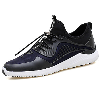 Homens sapatos Couro Ecológico Primavera Outono Conforto Tênis Cadarço para Casual Preto Cinzento Azul