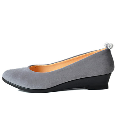 Mulheres Sapatos Tecido Primavera Conforto Saltos Salto Baixo / Salto Plataforma Ponta Redonda Gliter com Brilho Preto / Cinzento