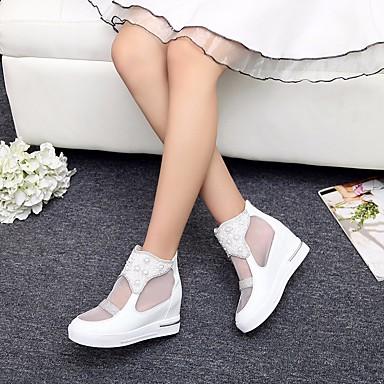Dámské Sandály Pohodlné Jaro PU Ležérní Bílá Stříbrná Růžová Plochý