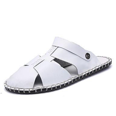 Miesten kengät Nahka Kesä Valopohjat Sandaalit Kävely varten Urheilu Päivittäin Valkoinen Musta