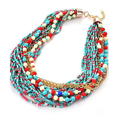 cheap Necklaces-Women's Girls' Chain Necklace Layered Necklace Friends Statement Personalized Luxury Unique Design Nanometer Materials Alloy Rainbow Red Light Blue Necklace Jewelry For Christmas Gifts Party Special