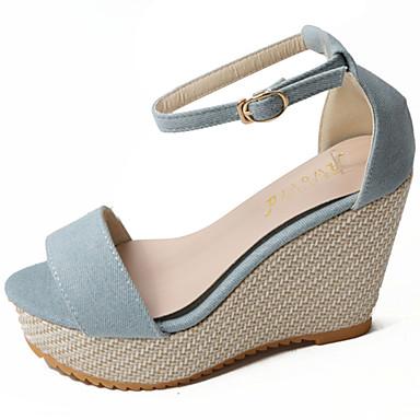 Mulheres Sapatos Couro Ecológico Verão Sandálias Salto Plataforma Dedo Aberto Colchete para Diário Casual Azul Escuro Azul Claro Castanho