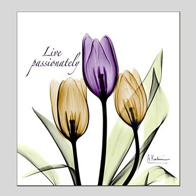 Pintados à mão Floral/Botânico Quadrada, Clássico Modern Tela de pintura Pintura a Óleo Decoração para casa 1 Painel