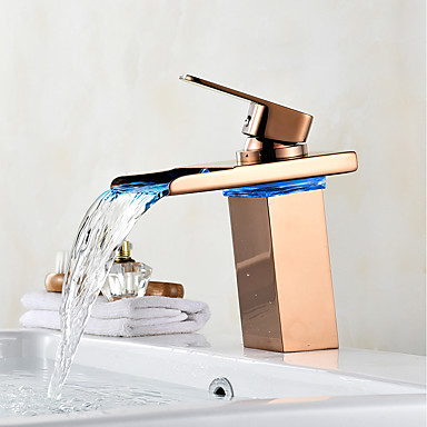 Centerset Waterfall LED indicator Rose Gold, Bathroom Sink Faucet