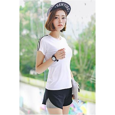 Damen Laufshirt mit kurzer Laufhose Kurzarm Kleidungs-Sets für Yoga Übung & Fitness Laufen Baumwolle Nylon Schlank Weiß Schwarz S M L