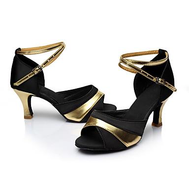 Mulheres Latina Seda Sandália Interior Salto Personalizado Preto e Dourado Personalizável