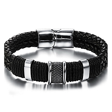 cheap Men's Bracelets-Men's Braided woven Leather Bracelet Stainless Steel Leather Vintage Punk Rock Fashion Hip-Hop Bracelet Jewelry Black For Birthday Dailywear Sports Outdoor Athletic Sport Gift