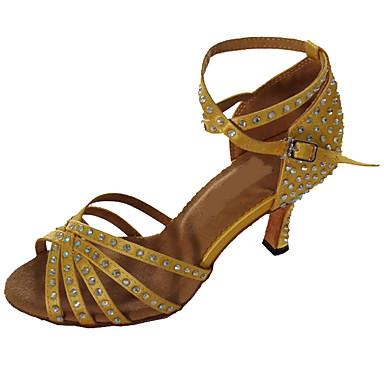baratos Sapatos de Salsa-Mulheres Sapatos de Dança Cetim Sapatos de Dança Latina Pedrarias Sandália Salto Personalizado Personalizável Dourado / Preto / Amêndoa / Interior / EU43