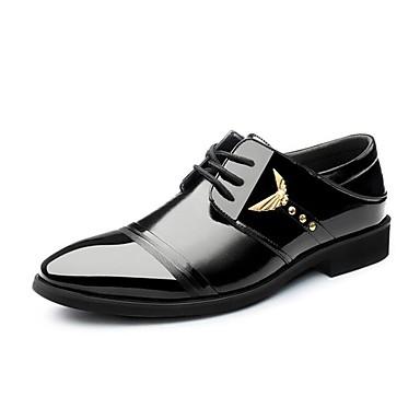 Homens sapatos Microfibra Primavera Outono Conforto Oxfords Caminhada Cadarço para Casual Escritório e Carreira Festas & Noite Preto