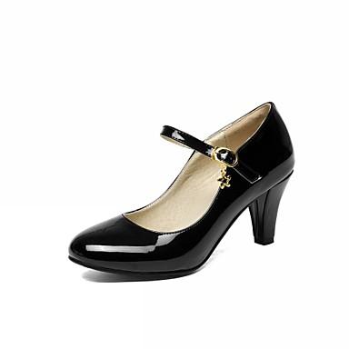 Mulheres Sapatos Couro Ecológico Courino Sintético Primavera Outono Inovador Conforto Saltos Caminhada Salto Robusto Ponta Redonda