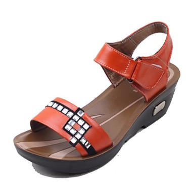 Naiset Kengät PU Kevät Comfort Sandaalit Käyttötarkoitus Kausaliteetti Oranssi Keltainen Sininen