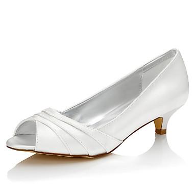 Mulheres Sapatos Seda Primavera Verão Sapatos De Casamento Salto Baixo Peep Toe Ponta Redonda Dedo Aberto para Ivory