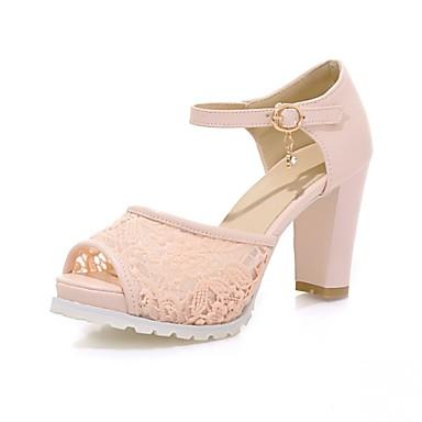 Mulheres Sapatos Courino / Couro Ecológico Verão / Outono Conforto / Inovador Sandálias Caminhada Salto Robusto Peep Toe Presilha Branco