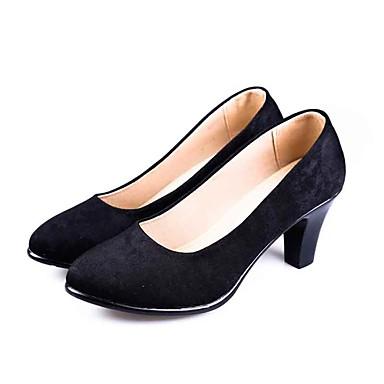 Damen High Heels Komfort formale Schuhe Stoff Frühling Sommer Alltag Kleid Komfort formale Schuhe Blockabsatz Schwarz 5 - 7 cm