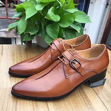 Miehet Kengät Aitoa nahkaa Nahka Kevät Comfort Oxford-kengät Käyttötarkoitus Häät Musta Ruskea Burgundi