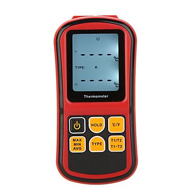 gm1312 ميزان الحرارة الرقمي قناة مزدوجة متر فاحص للحرارة مع لد الخلفية