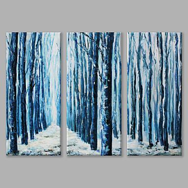 Pintura a Óleo Pintados à mão - Paisagem Artistíco Modern Tela de pintura 3 Painéis