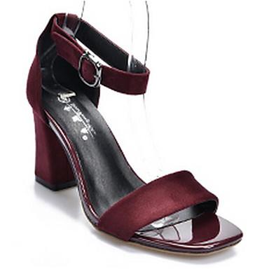Naiset Kengät Nupukkinahka Kevät Comfort Sandaalit Käyttötarkoitus Kausaliteetti Musta Harmaa Burgundi