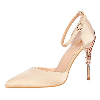 7e845bcc03de damesko læderetæppe forår   høstkomfort hæle stiletto hæl spids tåspænde  lyserød   burgunder   champagne   kjole