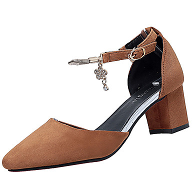 Mulheres Sapatos Cashmere Verão Saltos Caminhada Salto Robusto Dedo Apontado Combinação para Preto Marron Vermelho Amêndoa