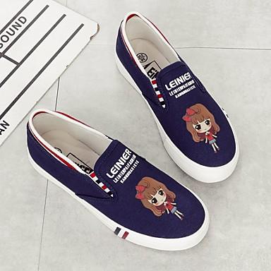 Damen Schuhe PU Leinwand Frühling Komfort Flache Schuhe Für Normal Weiß Schwarz Blau